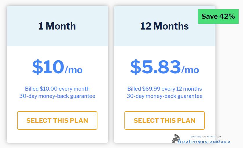 Συνδρομές και τιμές για το StrongVPN