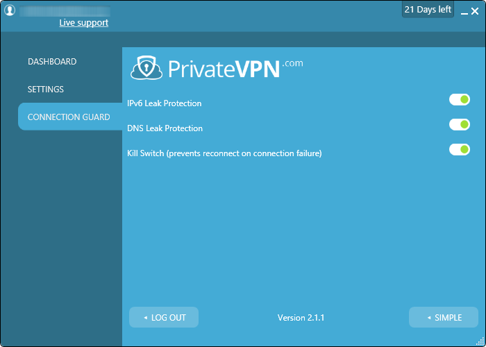 privatevpn connection guard