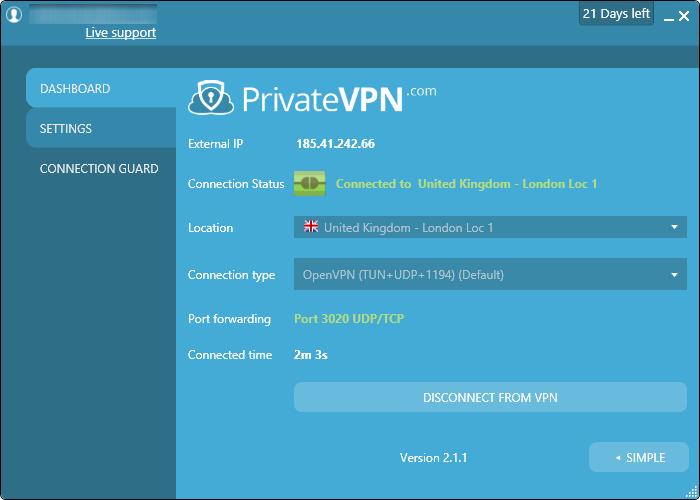 privatevpn UI